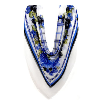 Buy Any 2 Scarf Get 1 For Free, large cotton Scarf, large square scarf, Summer Scarves, head scarf, Pattern Scarf, Flower Scarf, Shawl blue