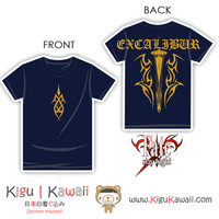 New Hardcore Fate Stay Night Design Excalibur Navy Blue Tshirt KK771