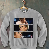 Miley Cyrus smoking blunt Unisex Crewneck Funny and Music