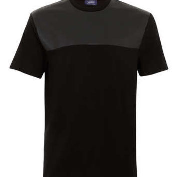 BLACK LEATHER LOOK INSERT T-SHIRT - Men's T-shirts & Tanks  - Clothing