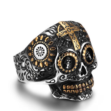 ZMZY Personality Fashion 316L Stainless Steel Punk Vintage Skull Bone Gothic Ring Biker Rings for Men Jewelry