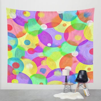 Round Colors Wall Tapestry by Robleedesigns