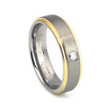Brilliant diamond yellow gold brush tungsten wedding band