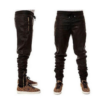 Faux Leather and Gold Streetwear Joggers