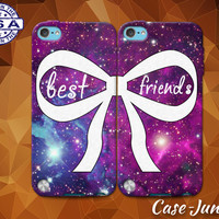 Best Friends Pair Matching Bow Galaxy Space BFF Cute Custom Case For iPhone 4 and 4s and iPhone 5 and 5s and 5c and iPhone 6 and 6 Plus +