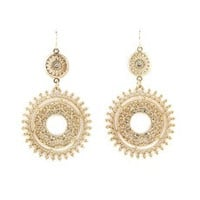 Elegant bijoux 2014 fashionable gold filled alloy hollow out antique imitation crystal dangle earrings [7896941447]