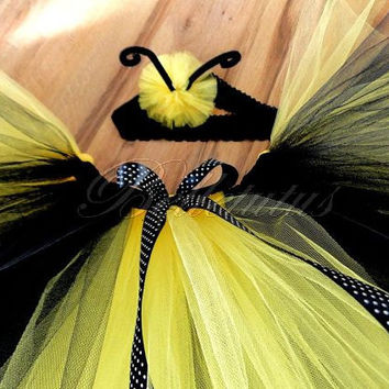 bee costume – girl tutu costume – baby tutu costume–tutu costume–tutu set–halloween–birthday tutu–wings–headband–tutu skirt–party tutu