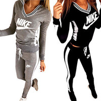 Women 2pcs Tracksuit Hooded Sweatshirt Yoga Running Fitness Trousers Leggings