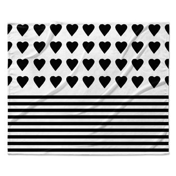 "Project M ""Heart Stripes Black and White"" Monochrome Lines Fleece Throw Blanket"