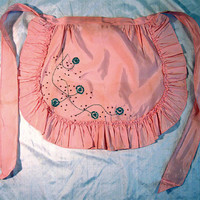 Vintage 1950s Apron Pink Taffeta Turquoise Sequins Beads  Pin-Up