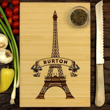 Personalized Cutting Board, Wedding Gift, Custom Engraved, Paris, Eiffel Tower, Family Name, Christmas Gift, Birthday Gift, Chef Gift