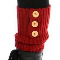 Triple Button Ribbed Knit Leg Warmers [Red]