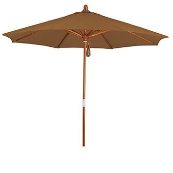 Eclipse Collection 9' Wood Market Umbrella Pulley Open Marenti Wood/Sunbrella/Canvas Teak