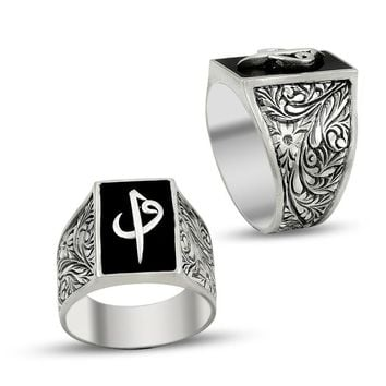 Filigree unique alif vav monogram 925k sterling silver mens ring