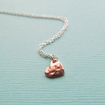 ROSE GOLD HEART Necklace Sterling Tiny Dainty Everyday Love Anniversary Mother Friend Bridesmaids Gifts for Mom - Birthday Friends Gift