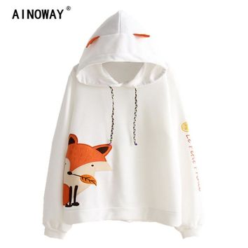 2017 Autumn Fashion  Long Sleeve Crop Tops Women fox embroidery  letter hooded Sweatshirts hoodies Patchwork   printed Pullovers