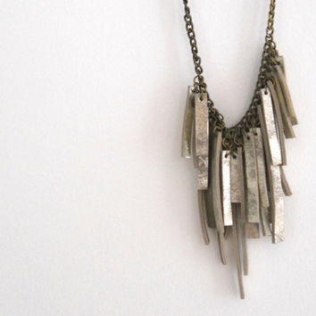 Silver leather and Brass chain necklace