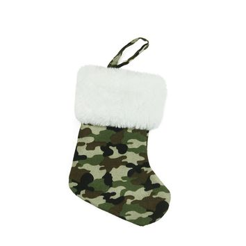 "7"" Army Camouflage Mini Christmas Stocking with White Faux Fur Cuff"