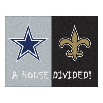 Dallas Cowboys - New Orleans Saints NFL House Divided Rugs 33.75x42.5