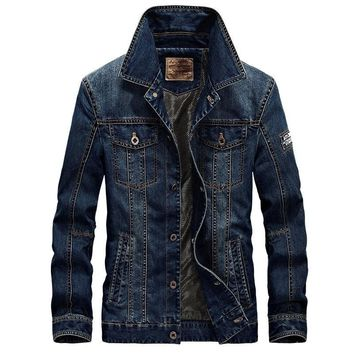 Trendy 2018 new spring and autumn denim jacket men's lapel fashion slim coat casual solid color coat AT_94_13