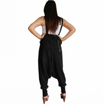 Trousers Bib Ninja Pants  Suspender, Gaucho Unisex, Ribbed Cotton,Two Tone Brown/Black Colour.03.