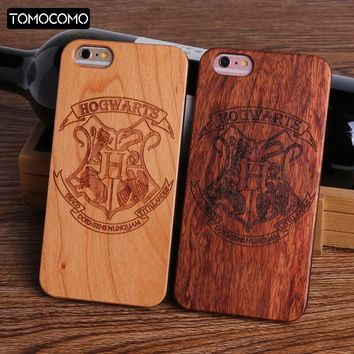 TOMOCOMO Harry Potter Hogwarts Pattern Design Real Wood Phone Cases Cover for Iphone 7 6 6S 8 Plus 5S SE X Coque Fundas Capa