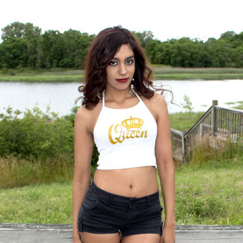Queen White Halter Crop Top