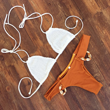 Solid Shell Crochet Strap Beach Bikini Set Swimsuit Swimwear