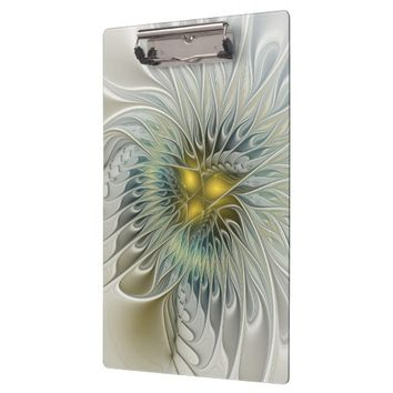 Golden Flower Fantasy, abstract Fractal Art Clipboard