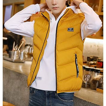 Mens High Collar Puffer Vest in Yellow