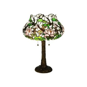 "Meyda 22.5""H Dragonfly Flower Table Lamp"