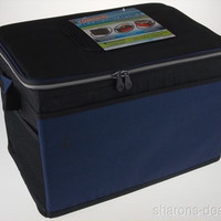 Coleman 48 Can Collapsible Cooler Black Blue Lid Hatch Insulated Antimicrobial