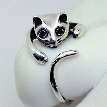 Cute Silver Cat Shaped Ring With Rhinestone Eyes, Adjustable and Resizeable (Color: Silver) (With Thanksgiving&Christmas Gift Box)= 1929783236