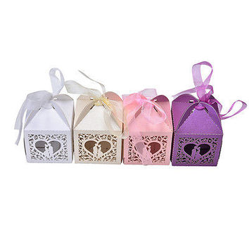 10/50/100 Pcs Love Heart Favor Ribbon Gift Box Candy Boxes Wedding Party DecorHU