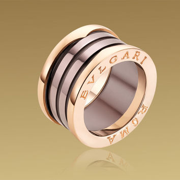 "B.ZERO1 ""Roma"" ring in 18 kt pink gold with bronze ceramic. - size 43"