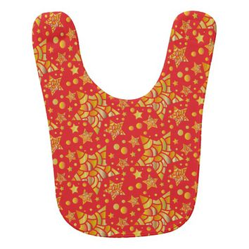 Golden Stars Pattern Baby Bib