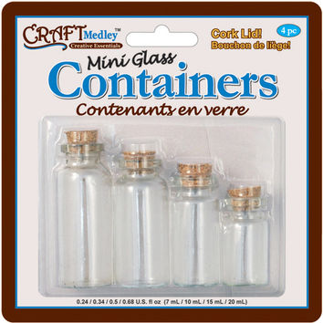 mini containers w/cork lid, 4-pack