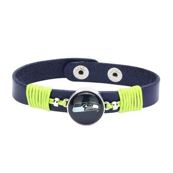 10pcs/lot! Adjustable Premium Leather Ginger Snaps Bracelet with a Seattle Seahawks 18mm Snap  for Men,Women and Teens