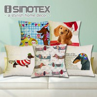 Cushion Cover Christmas Festival Dachshund 45X45cm Happy Birthday Sausage Dog Pillow Cases New Year Gift Bedroom Sofa Decoration
