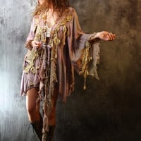 Vintage 1970s Dress Bohemian Hippie Fairy Dress Jacket Dripping Lace Crochet Pansies Handmade Hand dyed Made to Order