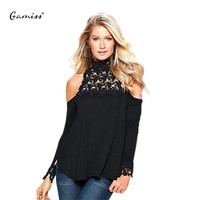 Gamiss Women Sexy High Collar Blouse Lace Crochet off shoulder women tops Long sleeve feminino blusas S~XL Casual Chic Shirts