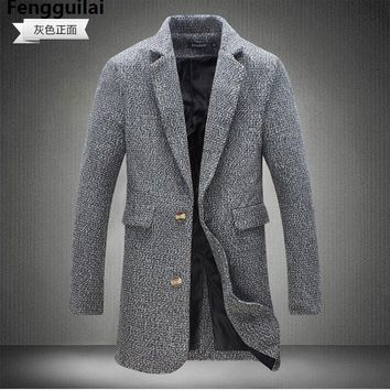 M -5xl New Fashion Long Trench Coat Men Winter Mens Overcoat 40 %Wool Thick Pea Trench Coat Male Jacket