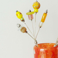 Vintage flower bouquet, alloy and glass modern bouquet in yellow and orange, vintage Greek folk art