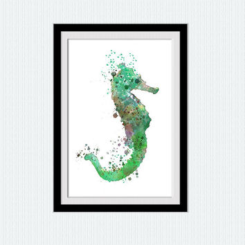 Sea horse watercolor print, Nautical poster Sea horse decor green ocean painting soothing colored modern art  living room design  W286