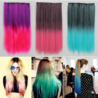 Ombre Tousled Straight Popular Medium Clip in Hair Extensions