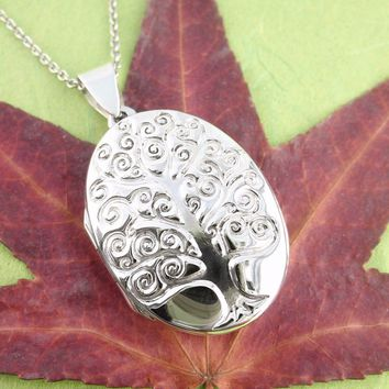 Oval Curlicue Tree of Life Locket Necklace in Sterling Silver