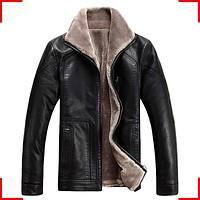 FreeShipping Hot Sale Winter Thick Leather Garment Casual flocking Leather Jacket Men's Clothing Leather Jacket Men