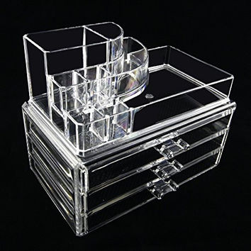 Beauty Acrylic Clear Cosmetic Holder Large 3 Drawer Jewerly Chest or Make up Case Lipstick Liner Brush Holder Organizer