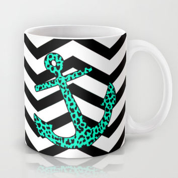 Mint Leopard Chevron Anchor Mug by M Studio