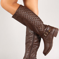 Leatherette Quilted Studded Knee High Boot